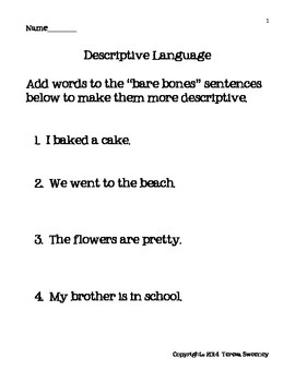 Descriptive Language Practice  Worksheet