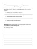 Descriptive Language Worksheet