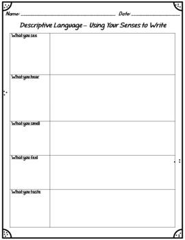 Descriptive Language Writing Organizer