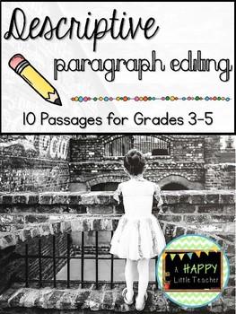 Descriptive Paragraph Editing: 10 Passages for Grades 3-5