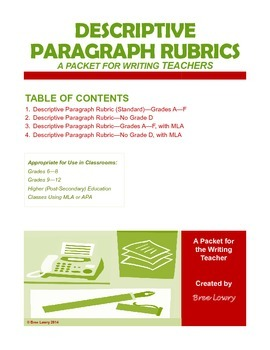 Descriptive Paragraph Rubrics Packet (for Writing in all Subjects)