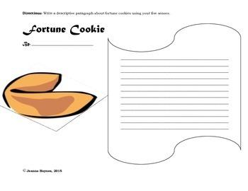 Descriptive Paragraph Writing: Fortune Cookie