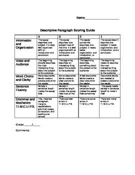 Descriptive Paragraph Writing Scoring Guide