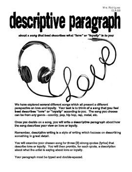 Descriptive Paragraph about a Love Song