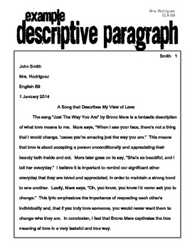Descriptive essay about love