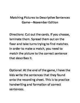 Descriptive Sentences Matching Game--November Edition