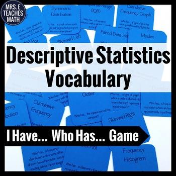 "Descriptive Statistics ""I Have, Who Has"" Game"