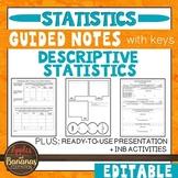 Descriptive Statistics-  Interactive Notebook Activities &