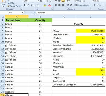Descriptive Statistics in Excel using Data Analysis
