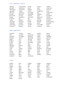 Descriptive Words Booklet