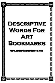 Descriptive Words for Art Bookmarks