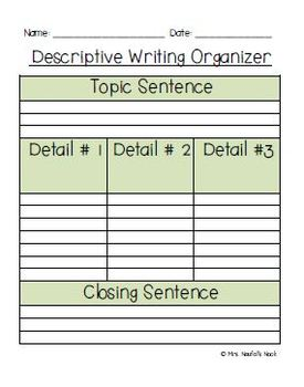 Descriptive Writing - Graphic Organizer, Writing Prompts and Rubric