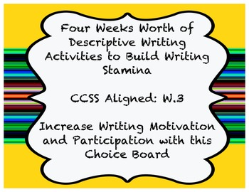 Descriptive Writing - 4 Weeks Worth of Writing - Common Core Aligned