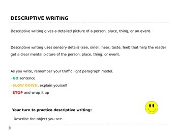 Descriptive Writing - 6th Grade