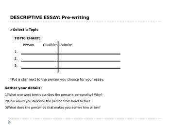 Descriptive Essay 6th Grade