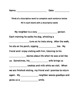 Descriptive Writing Cloze Activity