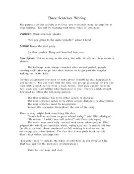 Descriptive Writing Exercise-Three Sentences Activity