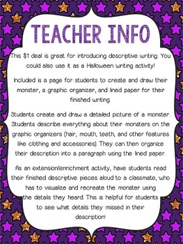 Descriptive Writing Create A Monster 1 Deal By Reading