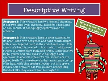 Descriptive Writing (Grades 4-6) PPT Slides + Handouts + 60 Min Lesson Plan