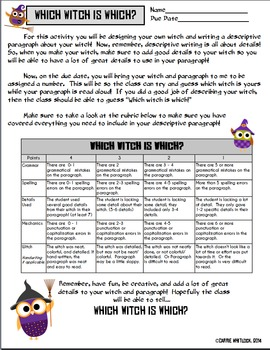 Halloween Descriptive Writing -  Which Witch is Which/Guess that Pumpkin!