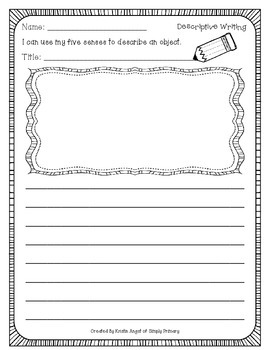 Descriptive Writing Mini Resource Pack for the Primary Grades
