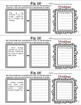Descriptive Writing Packet