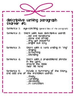 descriptive writing paragraph starters by go beyond tpt. Black Bedroom Furniture Sets. Home Design Ideas