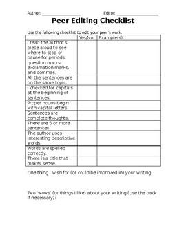 Descriptive Writing Peer Edit Checklist
