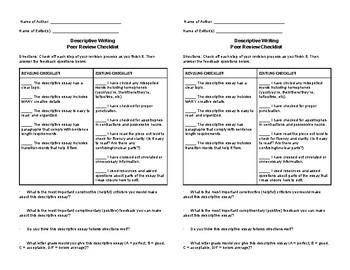 Descriptive Writing Peer Review Checklist