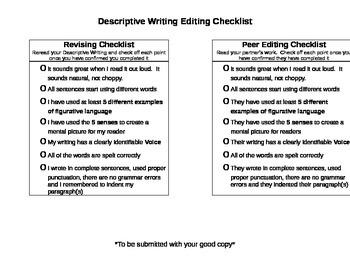 Descriptive Writing Peer and Self Editing Checklist