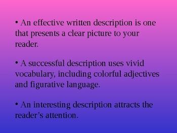 Descriptive Writing Power Point