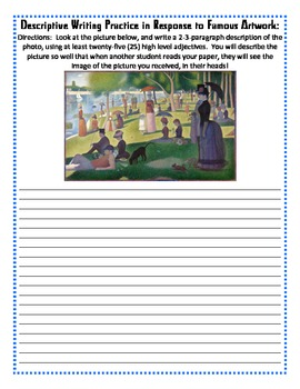 Descriptive Writing Practice Responding to Famous Artwork
