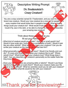 "Descriptive Writing Prompt ""Dr. Freakenstein's Crazy Creature!"""