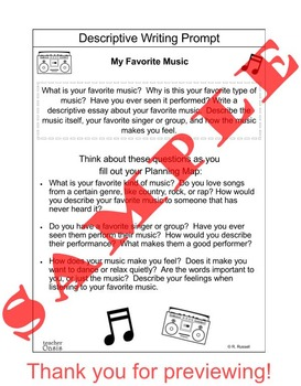descriptive writing prompt my favorite music by teacher oasis tpt descriptive writing prompt my favorite music