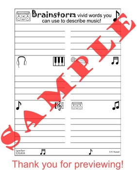 "Descriptive Writing Prompt ""My Favorite Music"""