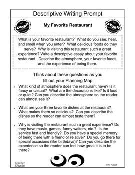 Descriptive Writing Prompt My Favorite Restaurant By Teacher Oasis Descriptive Writing Prompt My Favorite Restaurant