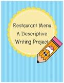 Descriptive Writing: Restaurant Menu