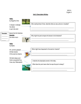 Descriptive Writing Scaffold