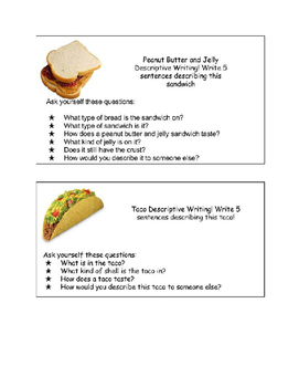 Descriptive Writing Starters: Food
