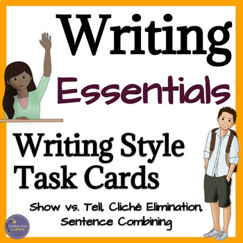Writing Task Cards for Show Don't Tell, Sentence Combining, Word Choice