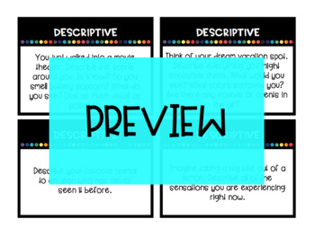 DESCRIPTIVE Writing Task Cards and corresponding Choice Board / Writing Menu