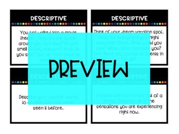 DESCRIPTIVE Writing Task Cards and corresponding Choice Board / Writing Menu