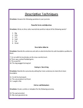 Descriptive essay exercises