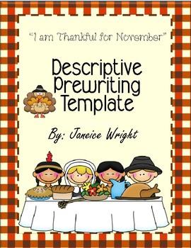 Descriptive Writing Template I Am Thankful for November