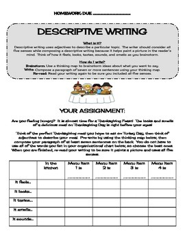 Descriptive Writing: Thanksgiving Feast