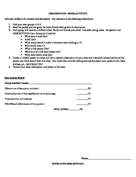 Descriptive Writing Unit (with notes, rubric, and practice)
