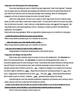 Descriptive Writing Using Color