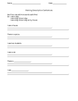 Descriptive Writing Worksheet for ELLs