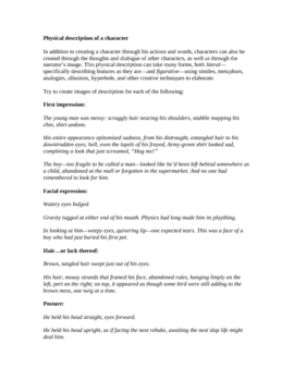 Descriptive Writing and Characterization: Handout and Class Activity