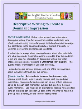 descriptive writing creating a dominant impression by dianne mason descriptive writing creating a dominant impression